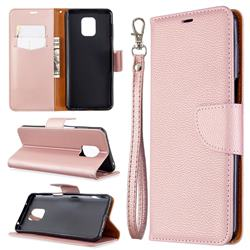 Classic Luxury Litchi Leather Phone Wallet Case for Xiaomi Redmi Note 9s / Note9 Pro / Note 9 Pro Max - Golden