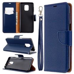 Classic Luxury Litchi Leather Phone Wallet Case for Xiaomi Redmi Note 9s / Note9 Pro / Note 9 Pro Max - Blue