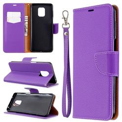 Classic Luxury Litchi Leather Phone Wallet Case for Xiaomi Redmi Note 9s / Note9 Pro / Note 9 Pro Max - Purple