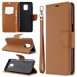 Classic Luxury Litchi Leather Phone Wallet Case for Xiaomi Redmi Note 9s / Note9 Pro / Note 9 Pro Max - Brown