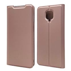 Ultra Slim Card Magnetic Automatic Suction Leather Wallet Case for Xiaomi Redmi Note 9s / Note9 Pro / Note 9 Pro Max - Rose Gold