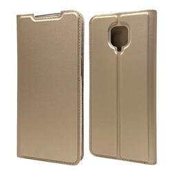 Ultra Slim Card Magnetic Automatic Suction Leather Wallet Case for Xiaomi Redmi Note 9s / Note9 Pro / Note 9 Pro Max - Champagne