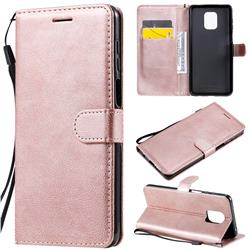 Retro Greek Classic Smooth PU Leather Wallet Phone Case for Xiaomi Redmi Note 9s / Note9 Pro / Note 9 Pro Max - Rose Gold