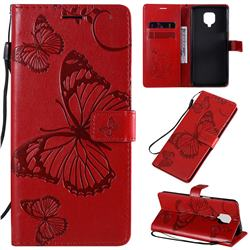 Embossing 3D Butterfly Leather Wallet Case for Xiaomi Redmi Note 9s / Note9 Pro / Note 9 Pro Max - Red