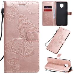 Embossing 3D Butterfly Leather Wallet Case for Xiaomi Redmi Note 9s / Note9 Pro / Note 9 Pro Max - Rose Gold