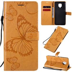 Embossing 3D Butterfly Leather Wallet Case for Xiaomi Redmi Note 9s / Note9 Pro / Note 9 Pro Max - Yellow