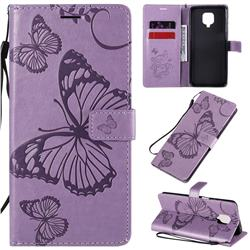 Embossing 3D Butterfly Leather Wallet Case for Xiaomi Redmi Note 9s / Note9 Pro / Note 9 Pro Max - Purple