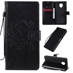 Embossing Butterfly Tree Leather Wallet Case for Xiaomi Redmi Note 9s / Note9 Pro / Note 9 Pro Max - Black