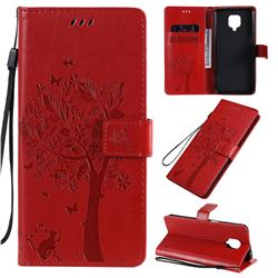 Embossing Butterfly Tree Leather Wallet Case for Xiaomi Redmi Note 9s / Note9 Pro / Note 9 Pro Max - Red