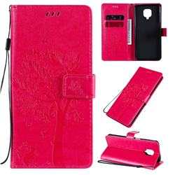 Embossing Butterfly Tree Leather Wallet Case for Xiaomi Redmi Note 9s / Note9 Pro / Note 9 Pro Max - Rose