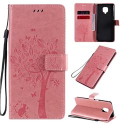 Embossing Butterfly Tree Leather Wallet Case for Xiaomi Redmi Note 9s / Note9 Pro / Note 9 Pro Max - Pink