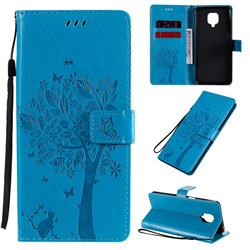 Embossing Butterfly Tree Leather Wallet Case for Xiaomi Redmi Note 9s / Note9 Pro / Note 9 Pro Max - Blue