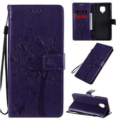 Embossing Butterfly Tree Leather Wallet Case for Xiaomi Redmi Note 9s / Note9 Pro / Note 9 Pro Max - Purple