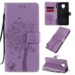 Embossing Butterfly Tree Leather Wallet Case for Xiaomi Redmi Note 9s / Note9 Pro / Note 9 Pro Max - Violet