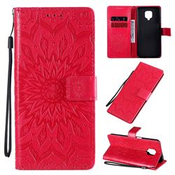 Embossing Sunflower Leather Wallet Case for Xiaomi Redmi Note 9s / Note9 Pro / Note 9 Pro Max - Red