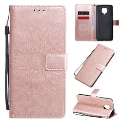 Embossing Sunflower Leather Wallet Case for Xiaomi Redmi Note 9s / Note9 Pro / Note 9 Pro Max - Rose Gold