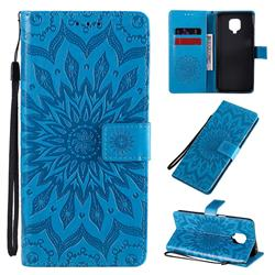 Embossing Sunflower Leather Wallet Case for Xiaomi Redmi Note 9s / Note9 Pro / Note 9 Pro Max - Blue