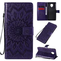 Embossing Sunflower Leather Wallet Case for Xiaomi Redmi Note 9s / Note9 Pro / Note 9 Pro Max - Purple