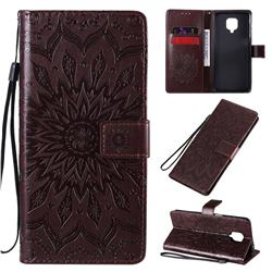 Embossing Sunflower Leather Wallet Case for Xiaomi Redmi Note 9s / Note9 Pro / Note 9 Pro Max - Brown