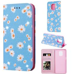 Ultra Slim Daisy Sparkle Glitter Powder Magnetic Leather Wallet Case for Xiaomi Redmi Note 9s / Note9 Pro / Note 9 Pro Max - Blue