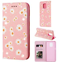 Ultra Slim Daisy Sparkle Glitter Powder Magnetic Leather Wallet Case for Xiaomi Redmi Note 9s / Note9 Pro / Note 9 Pro Max - Pink