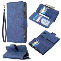 Binfen Color BF02 Sensory Buckle Zipper Multifunction Leather Phone Wallet for Xiaomi Redmi Note 9s / Note9 Pro / Note 9 Pro Max - Blue