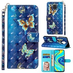 Rankine Butterfly 3D Leather Phone Holster Wallet Case for Xiaomi Redmi Note 9s / Note9 Pro / Note 9 Pro Max