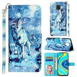Snow Wolf 3D Leather Phone Holster Wallet Case for Xiaomi Redmi Note 9s / Note9 Pro / Note 9 Pro Max