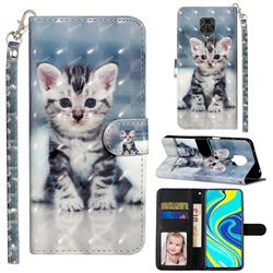 Kitten Cat 3D Leather Phone Holster Wallet Case for Xiaomi Redmi Note 9s / Note9 Pro / Note 9 Pro Max