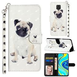 Pug Dog 3D Leather Phone Holster Wallet Case for Xiaomi Redmi Note 9s / Note9 Pro / Note 9 Pro Max
