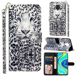 White Leopard 3D Leather Phone Holster Wallet Case for Xiaomi Redmi Note 9s / Note9 Pro / Note 9 Pro Max