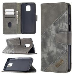 BinfenColor BF04 Color Block Stitching Crocodile Leather Case Cover for Xiaomi Redmi Note 9s / Note9 Pro / Note 9 Pro Max - Gray