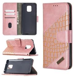 BinfenColor BF04 Color Block Stitching Crocodile Leather Case Cover for Xiaomi Redmi Note 9s / Note9 Pro / Note 9 Pro Max - Rose Gold