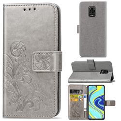 Embossing Imprint Four-Leaf Clover Leather Wallet Case for Xiaomi Redmi Note 9s / Note9 Pro / Note 9 Pro Max - Grey