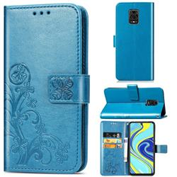 Embossing Imprint Four-Leaf Clover Leather Wallet Case for Xiaomi Redmi Note 9s / Note9 Pro / Note 9 Pro Max - Blue