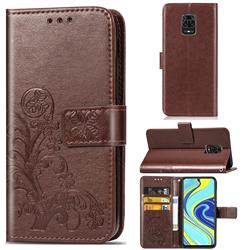 Embossing Imprint Four-Leaf Clover Leather Wallet Case for Xiaomi Redmi Note 9s / Note9 Pro / Note 9 Pro Max - Brown