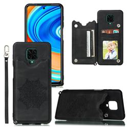 Luxury Mandala Multi-function Magnetic Card Slots Stand Leather Back Cover for Xiaomi Redmi Note 9s / Note9 Pro / Note 9 Pro Max - Black