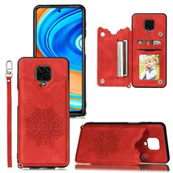 Luxury Mandala Multi-function Magnetic Card Slots Stand Leather Back Cover for Xiaomi Redmi Note 9s / Note9 Pro / Note 9 Pro Max - Red