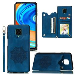 Luxury Mandala Multi-function Magnetic Card Slots Stand Leather Back Cover for Xiaomi Redmi Note 9s / Note9 Pro / Note 9 Pro Max - Blue