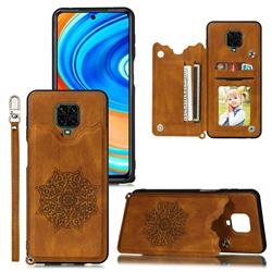 Luxury Mandala Multi-function Magnetic Card Slots Stand Leather Back Cover for Xiaomi Redmi Note 9s / Note9 Pro / Note 9 Pro Max - Brown