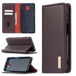 Binfen Color BF06 Luxury Classic Genuine Leather Detachable Magnet Holster Cover for Xiaomi Redmi Note 9s / Note9 Pro / Note 9 Pro Max - Dark Brown