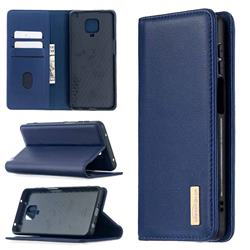 Binfen Color BF06 Luxury Classic Genuine Leather Detachable Magnet Holster Cover for Xiaomi Redmi Note 9s / Note9 Pro / Note 9 Pro Max - Blue