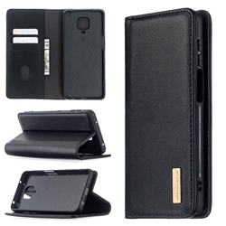 Binfen Color BF06 Luxury Classic Genuine Leather Detachable Magnet Holster Cover for Xiaomi Redmi Note 9s / Note9 Pro / Note 9 Pro Max - Black