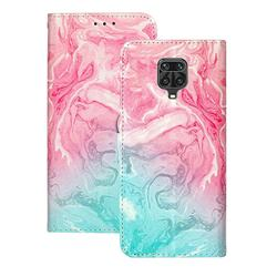 Pink Green Marble PU Leather Wallet Case for Xiaomi Redmi Note 9s / Note9 Pro / Note 9 Pro Max