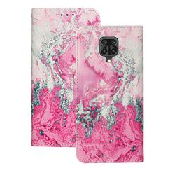 Pink Seawater PU Leather Wallet Case for Xiaomi Redmi Note 9s / Note9 Pro / Note 9 Pro Max