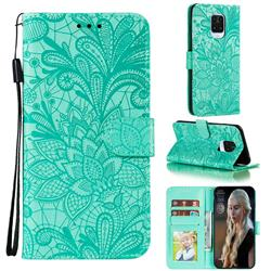 Intricate Embossing Lace Jasmine Flower Leather Wallet Case for Xiaomi Redmi Note 9s / Note9 Pro / Note 9 Pro Max - Green