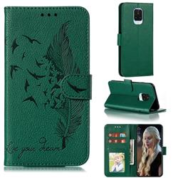Intricate Embossing Lychee Feather Bird Leather Wallet Case for Xiaomi Redmi Note 9s / Note9 Pro / Note 9 Pro Max - Green