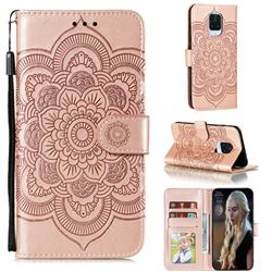 Intricate Embossing Datura Solar Leather Wallet Case for Xiaomi Redmi Note 9s / Note9 Pro / Note 9 Pro Max - Rose Gold