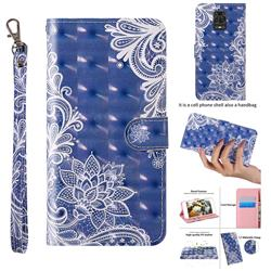 White Lace 3D Painted Leather Wallet Case for Xiaomi Redmi Note 9s / Note9 Pro / Note 9 Pro Max