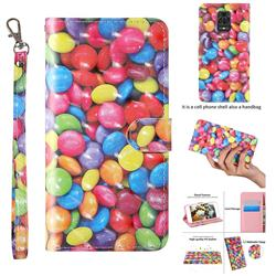 Colorful Jelly Beans 3D Painted Leather Wallet Case for Xiaomi Redmi Note 9s / Note9 Pro / Note 9 Pro Max